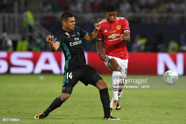 Casemiro of Real Madrid and Marcus Rashford of Manchester United battle for possession during the UEFA Super Cup final between Real Madrid and...