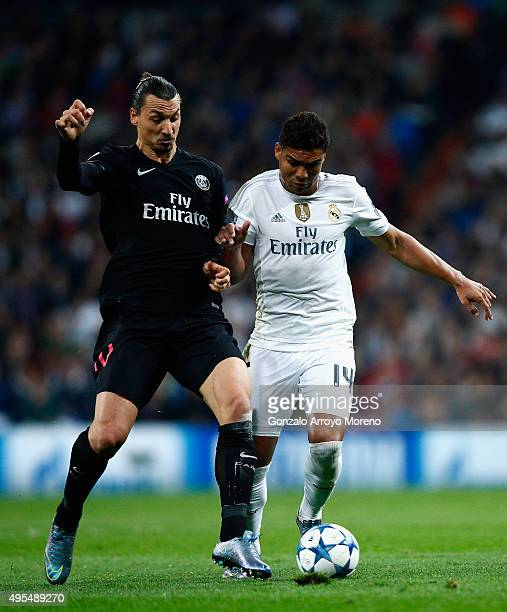 Casemiro of Real Madrid and Zlatan Ibrahimovic of PSG during the UEFA Champions League Group A match between Real Madrid CF and Paris SaintGermain at...