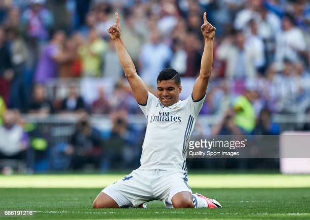 Casemiro of Real Madrid celebrates after his team scoring a goal during the La Liga match between Real Madrid CF and Atletico de Madrid at Estadio...