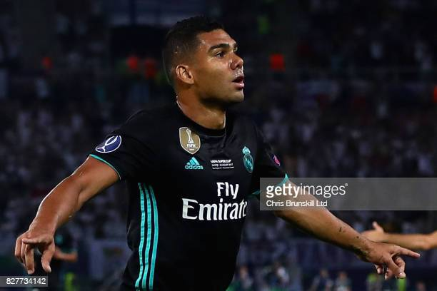 Casemiro of Real Madrid celebrates after opening the scoring during the UEFA Super Cup match between Real Madrid and Manchester United at National...