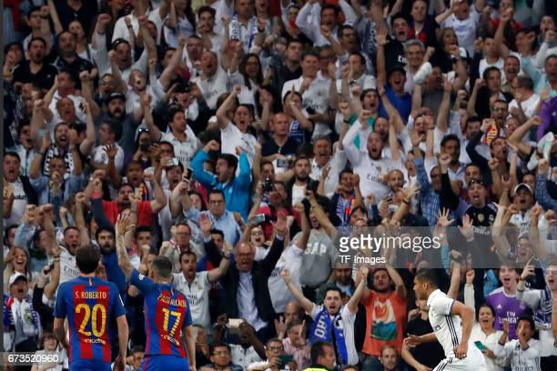 Casemiro of Real Madrid celebrates after scoring his team`s first goal during the La Liga match between Real Madrid CF and FC Barcelona at the...