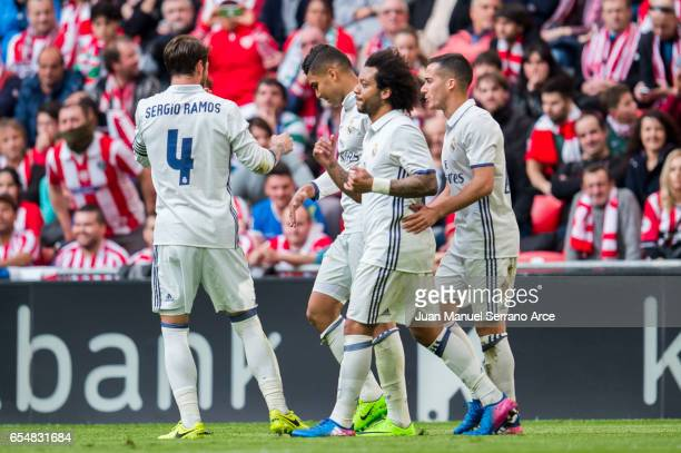 Casemiro of Real Madrid celebrates after scoring his team's second goal during the La Liga match between Athletic Club Bilbao and Real Madrid at San...