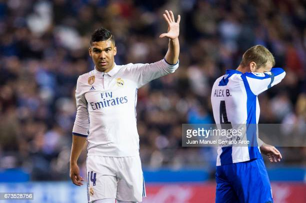 Casemiro of Real Madrid celebrates after scoring his team's sixth goal during the La Liga match between RC Deportivo La Coruna and Real Madrid at...