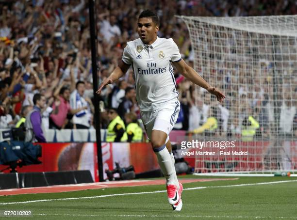 Casemiro of Real Madrid celebrates after scoring the opening goal during the La Liga match between Real Madrid and FC Barcelona at Estadio Santiago...