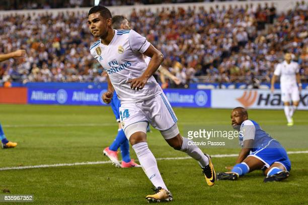 Casemiro of Real Madrid celebrates after scoring the second goal during the La Liga match between Deportivo La Coruna and Real Madrid at Riazor...