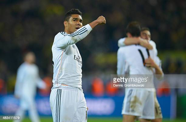 Casemiro of Real Madrid celebrates after the UEFA Champions League Quarter Final second leg match between Borussia Dortmund and Real Madrid at Signal...