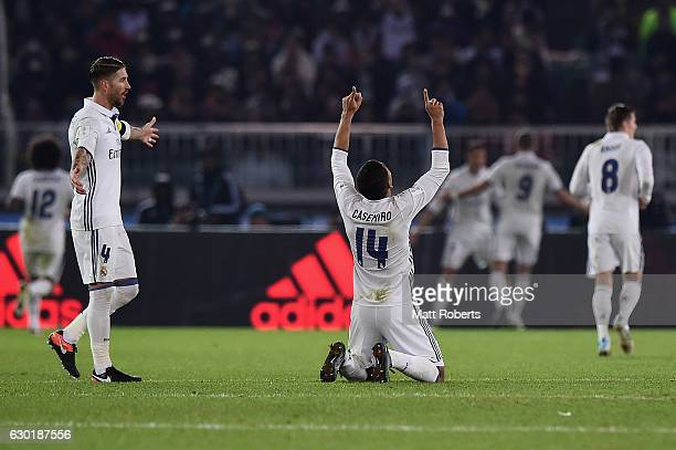 Casemiro of Real Madrid celebrates the goal by Cristiano Ronaldo during the FIFA Club World Cup final match between Real Madrid and Kashima Antlers...