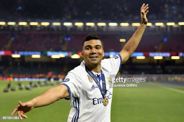 Casemiro of Real Madrid celebrates victory after the UEFA Champions League Final between Juventus and Real Madrid at National Stadium of Wales on...