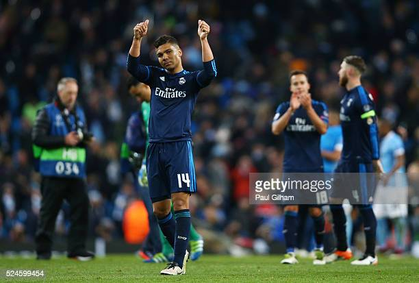 Casemiro of Real Madrid CF applauds the travelling fans following the 00 draw during the UEFA Champions League Semi Final first leg match between...