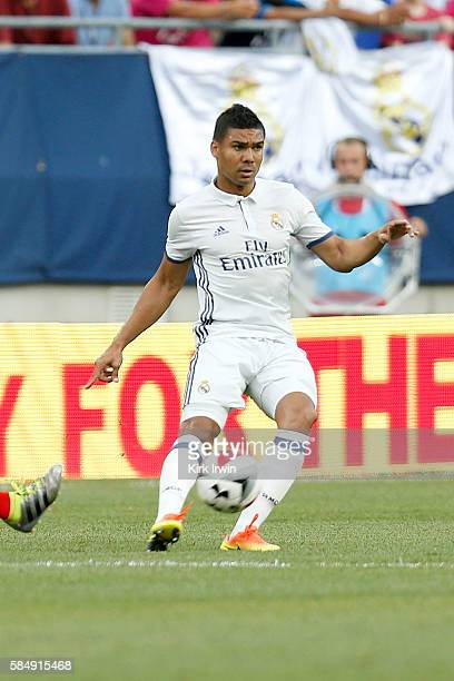 Casemiro of Real Madrid CF controls the ball during the game against Paris SaintGermain FC on July 27 2016 at Ohio Stadium in Columbus Ohio