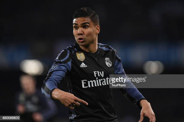 Casemiro of Real Madrid CF during the UEFA Champions League match between SSC Napoli and Real Madrid at Stadio San Paolo Naples Italy on 7 March 2017