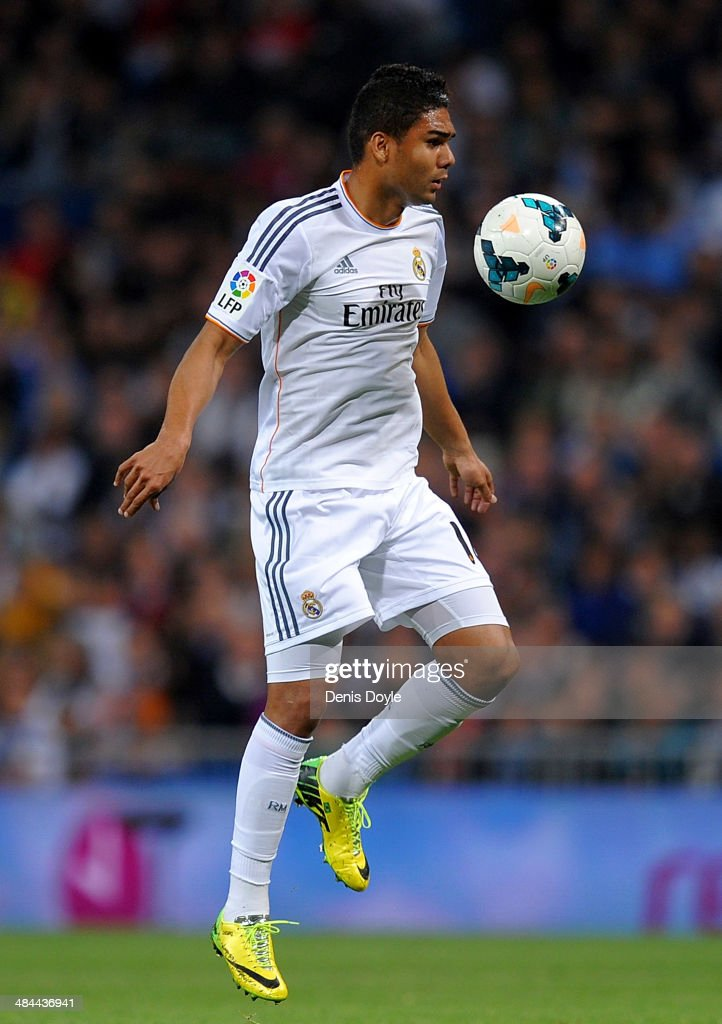 <a gi-track='captionPersonalityLinkClicked' href=/galleries/search?phrase=Casemiro&family=editorial&specificpeople=7150894 ng-click='$event.stopPropagation()'>Casemiro</a> of Real Madrid controls the ball during the La Liga match between Real Madrid and Almeria at Santiago Bernabeu stadium on April 12, 2014 in Madrid, Spain.