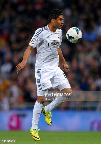 Casemiro of Real Madrid controls the ball during the La Liga match between Real Madrid and Almeria at Santiago Bernabeu stadium on April 12 2014 in...