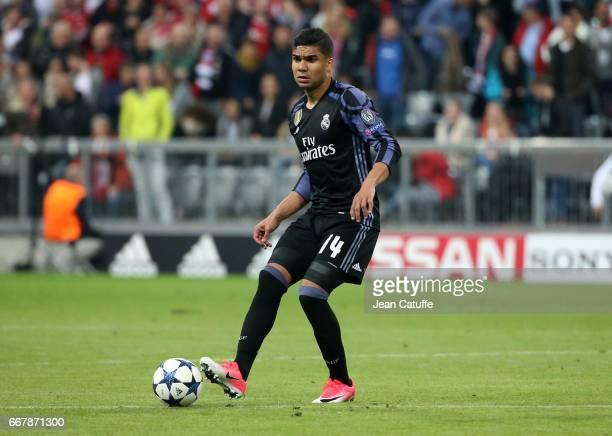 Casemiro of Real Madrid during the UEFA Champions League Quarter Final first leg match between FC Bayern Muenchen and Real Madrid CF at Allianz Arena...