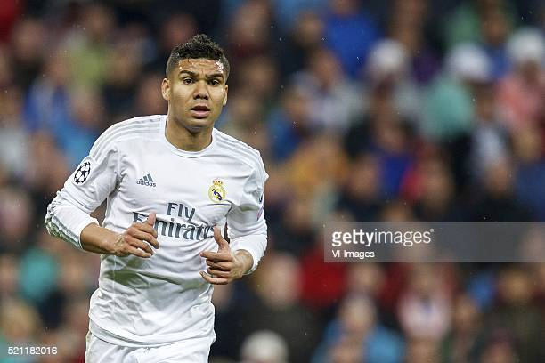 Casemiro of Real Madrid during the UEFA Champions League quarterfinal match between Real Madrid and VfL Wolfsburg on April 12 2016 at the Santiago...