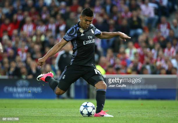 Casemiro of Real Madrid during the UEFA Champions League Semi Final second leg match between Club Atletico de Madrid and Real Madrid CF at Vicente...