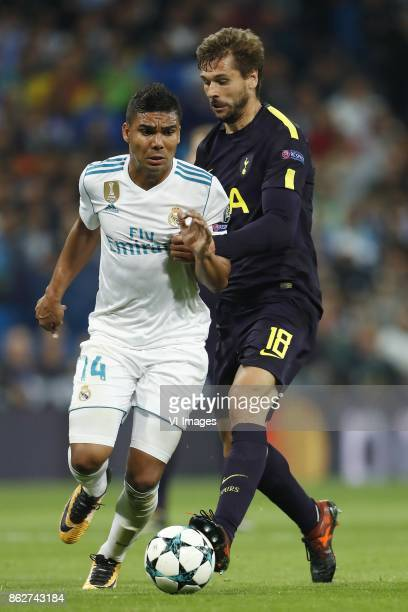 Casemiro of Real Madrid Fernando Llorente of Tottenham Hotspur FC during the UEFA Champions League group H match between Real Madrid and Tottenham...