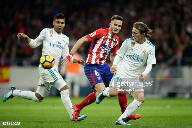 Casemiro of Real Madrid Gabi of Atletico Madrid Luka Modric of Real Madrid during the Spanish Primera Division match between Atletico Madrid v Real...