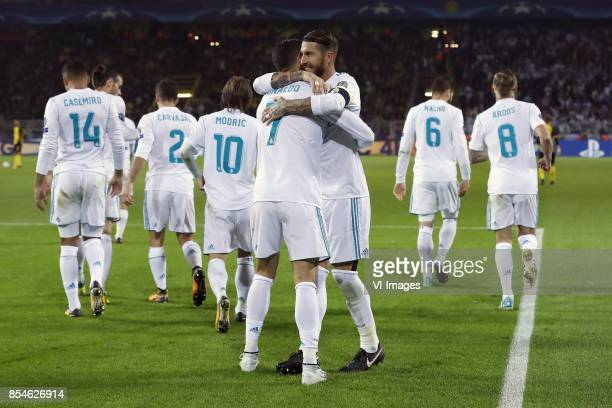 Casemiro of Real Madrid Gareth Bale of Real Madrid Daniel Carvajal of Real Madrid Luka Modric of Real Madrid Cristiano Ronaldo of Real Madrid Sergio...