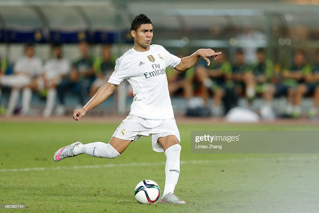 <a gi-track='captionPersonalityLinkClicked' href=/galleries/search?phrase=Casemiro&family=editorial&specificpeople=7150894 ng-click='$event.stopPropagation()'>Casemiro</a> of Real Madrid in action at the penalty shootout during the International Champions Cup match between Real Madrid and AC Milan at Shanghai Stadium on July 30, 2015 in Shanghai, China.