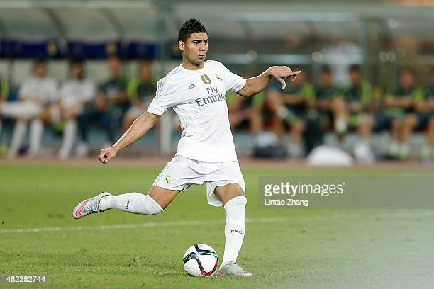 Casemiro of Real Madrid in action at the penalty shootout during the International Champions Cup match between Real Madrid and AC Milan at Shanghai...