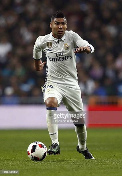 Casemiro of Real Madrid in action during the Copa del Rey round of 16 first leg match between Real Madrid CF and Sevilla at Estadio Santiago Bernabeu...