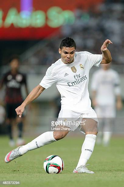 Casemiro of Real Madrid in action during the International Champions Cup match between Real Madrid and AC Milan at Shanghai Stadium on July 30 2015...