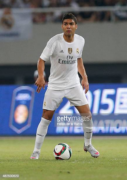 Casemiro of Real Madrid in action during the International Champions Cup China match between Real Madrid and AC Milan at the Shanghai Stadium on July...