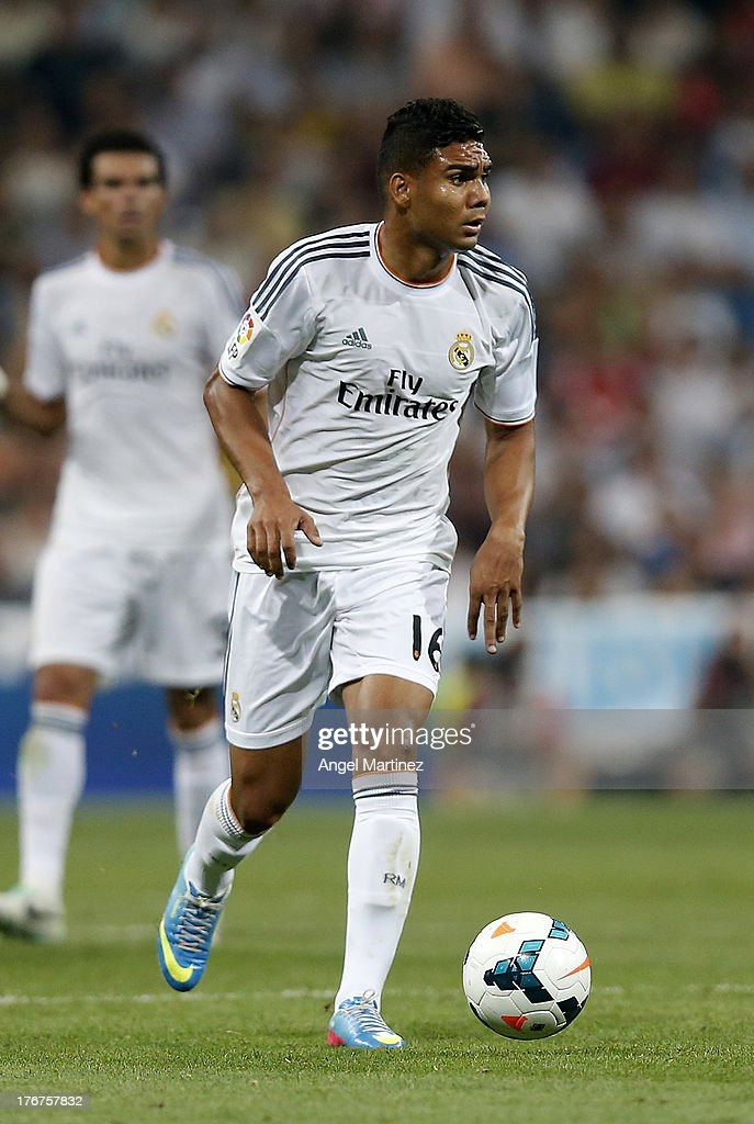 <a gi-track='captionPersonalityLinkClicked' href=/galleries/search?phrase=Casemiro&family=editorial&specificpeople=7150894 ng-click='$event.stopPropagation()'>Casemiro</a> of Real Madrid in action during the La Liga match between Real Madrid CF and Real Betis at Estadio Santiago Bernabeu on August 18, 2013 in Madrid, Spain.