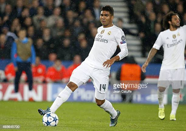Casemiro of Real Madrid in action during the UEFA Champions League match between Paris SaintGermain and Real Madrid at Parc des Princes stadium on...