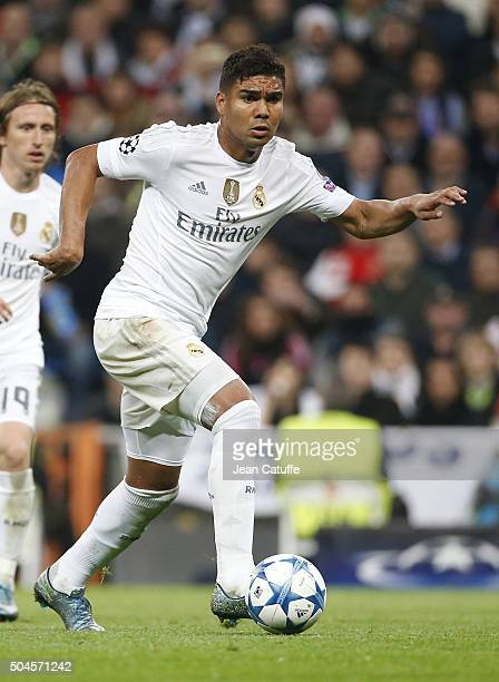 Casemiro of Real Madrid in action during the UEFA Champions League match between Real Madrid and Paris SaintGermain at Santiago Bernabeu stadium on...