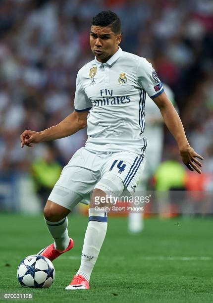 Casemiro of Real Madrid in action during the UEFA Champions League Quarter Final second leg match between Real Madrid CF and FC Bayern Muenchen at...