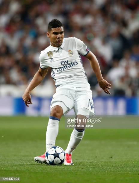 Casemiro of Real Madrid in action during the UEFA Champions League Semi Final first leg match between Real Madrid CF and Club Atletico de Madrid at...