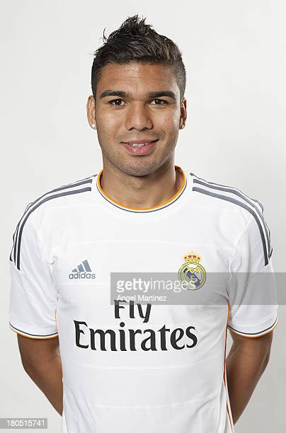 Casemiro of Real Madrid poses during the official team photo session at Valdebebas training ground on September 13 2013 in Madrid Spain