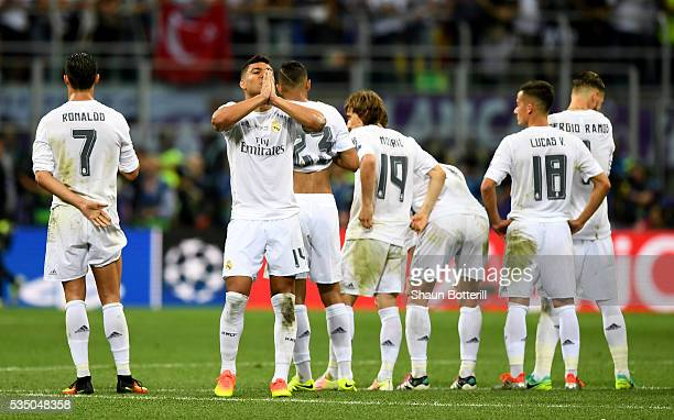 Casemiro of Real Madrid prays during the penalty shoot out atfer the UEFA Champions League Final match between Real Madrid and Club Atletico de...
