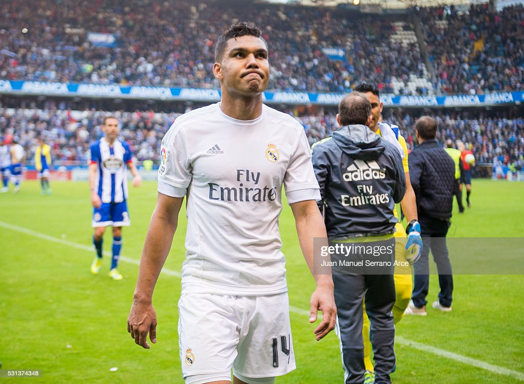 <a gi-track='captionPersonalityLinkClicked' href=/galleries/search?phrase=Casemiro&family=editorial&specificpeople=7150894 ng-click='$event.stopPropagation()'>Casemiro</a> of Real Madrid reacts during the La Liga match between RC Deportivo La Coruna and Real Madrid CF at Riazor Stadium on May 14, 2016 in La Coruna, Spain.