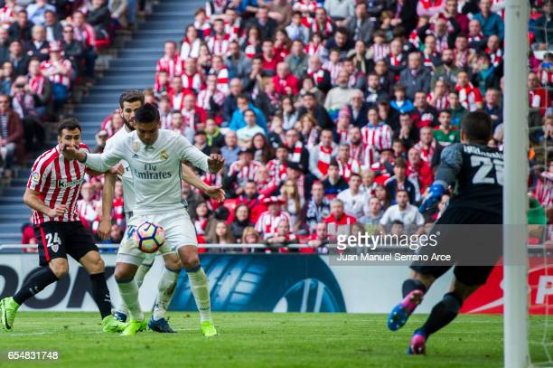 Casemiro of Real Madrid scoring his team's second goal during the La Liga match between Athletic Club Bilbao and Real Madrid at San Mames Stadium on...