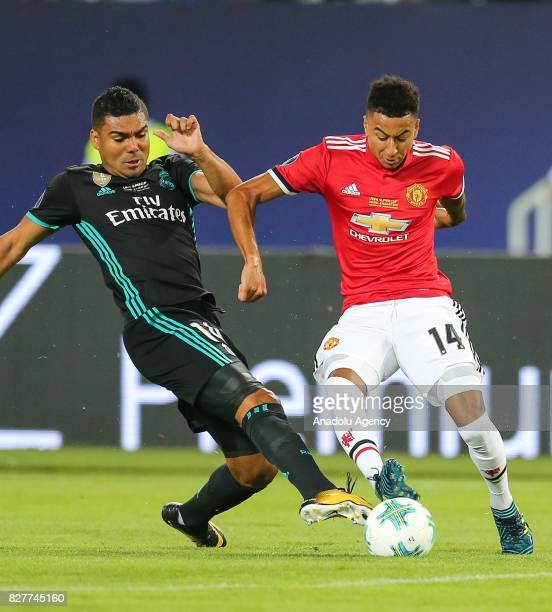 Casemiro of Real Madrid vies with Jesse Lingard of Manchester United during the UEFA Super Cup final between Real Madrid and Manchester United at the...