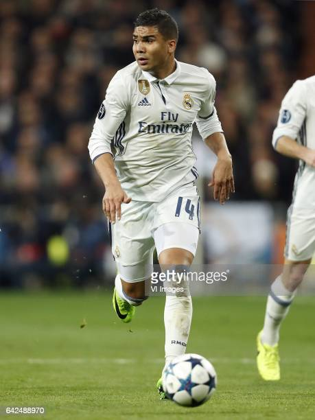 Casemiro of Real Madridduring the UEFA Champions League round of 16 match between Real Madrid and SSC Napoli on February 14 2017 at the Santiago...
