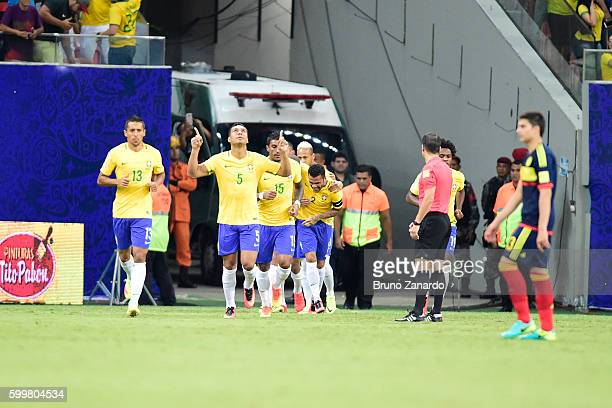 Casemiro player of Brazil celebrates his first goal during 2018 FIFA World Cup Russia qualification match between Brazil and Colombia at Arena da...