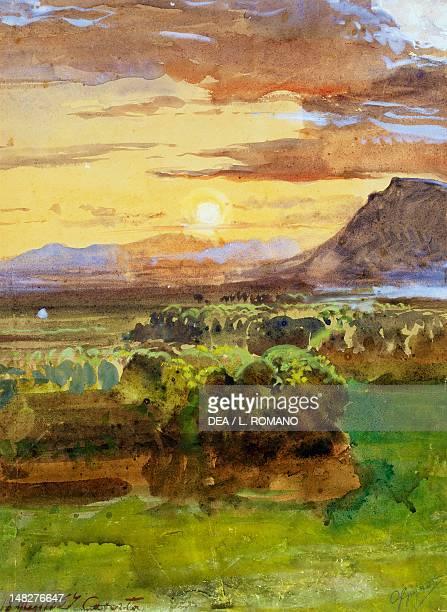 Caserta countryside by Giacinto Gigante watercolour and gouache 34x245cm Naples Museo Nazionale Di San Martino