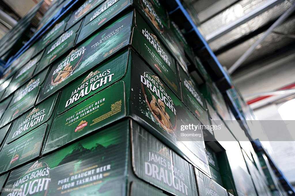 Cases of Boag's Draught beer are stacked in the warehouse at the Boag's brewery, operated by Kirin Holdings Co.'s Lion unit, in Launceston, Tasmania, Australia, on Monday, Feb. 25, 2013. Australia's Bureau of Statistics is scheduled to release fourth-quarter gross domestic product figures on March 6. Photographer: Carla Gottgens/Bloomberg via Getty Images