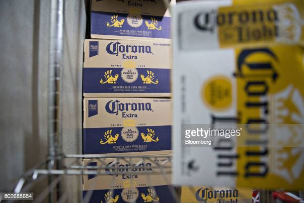 Cases of Constellation Brands Inc Corona beer sit in a cooler at a restaurant in Ottawa Illinois US on Tuesday June 27 2017 Constellation Brands Inc...