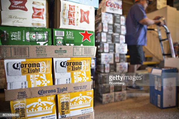 Cases of Constellation Brands Inc Corona beer sit in a storage room in Ottawa Illinois US on Tuesday June 27 2017 Constellation Brands Inc is...