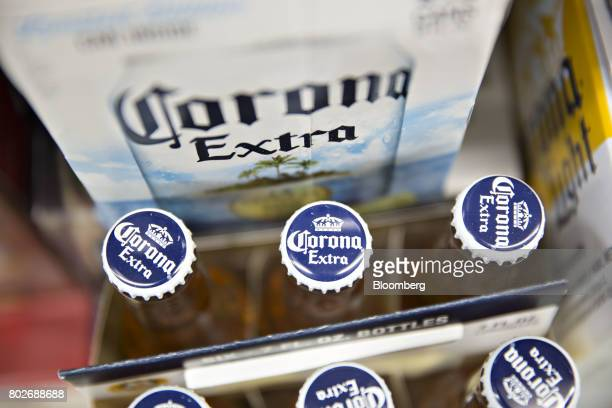 Cases of Constellation Brands Inc Corona beer sit on display for sale at a liquor store in Ottawa Illinois US on Tuesday June 27 2017 Constellation...