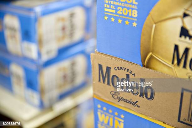 Cases of Constellation Brands Inc model beer sit on display for sale at a liquor store in Ottawa Illinois US on Tuesday June 27 2017 Constellation...