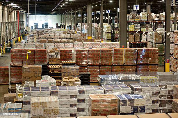 Cases of Diageo Plc products sit in a distribution warehouse in Bolingbrook Illinois US on Wednesday Nov 13 2013 The US Census Bureau is scheduled to...