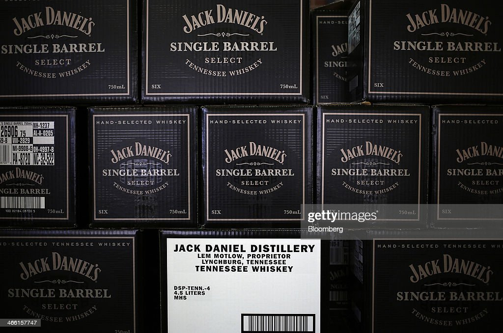 Cases of Jack Daniel's Single Barrel Select Tennessee Whiskey await shipment at Jack Daniel's Distillery in Lynchburg, Tennessee, U.S., on Thursday, Jan. 30, 2014. Jack Daniel's is owned by Brown-Forman Corp., which announced a regular quarterly cash dividend of 29 cents per share on its Class A and Class B Common stock last week in a company press release. Photographer: Luke Sharrett/Bloomberg via Getty Images