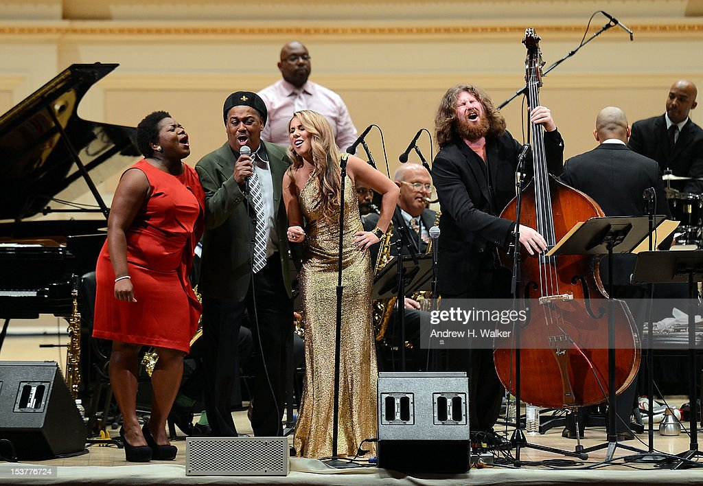 <a gi-track='captionPersonalityLinkClicked' href=/galleries/search?phrase=Casey+Abrams&family=editorial&specificpeople=7534720 ng-click='$event.stopPropagation()'>Casey Abrams</a> (R) and The New Orleans Jazz Orchestra perform at Carnegie Hall on October 8, 2012 in New York, New York.