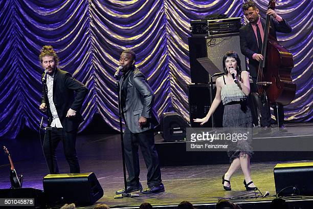 Casey Abrams LaVance Colley and Sara Niemietz of Postmodern Jukebox perform at Microsoft Theater on December 11 2015 in Los Angeles California